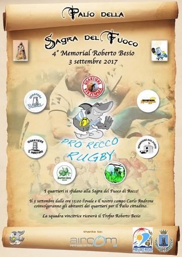 Domenica 3 settembre, al campo Carlo Androne di Recco, andrà in scena il Palio della Sagra del Fuoco