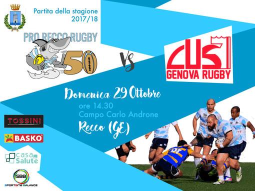 Il derby ligure della serie A di rugby tra Tossini Pro Recco e Cus Genova è in programma domenica alle 14.30 al Carlo Androne di Recco